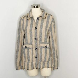 Anthropologie Current Air Striped Linen Button Top